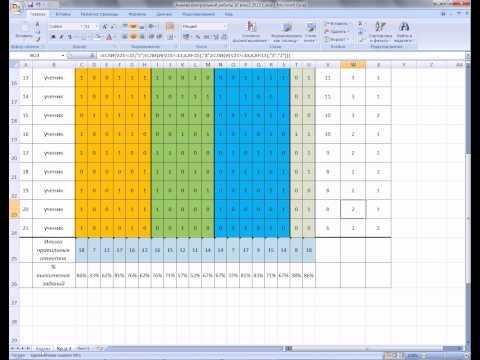 MS Office Excel. Урок 17. Пример анализа контрольной работы