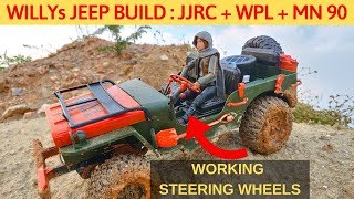 RC WILLYs JEEP made of JJRC Q65 + WPL + MN 90 | STEERING WHEEL, SOUND, LIGHTS MOD | RC WITH POPEYE
