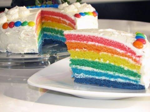 Rainbow Cake/Rainbowcake (Regenbogenkuchen mit 6 Schichten)