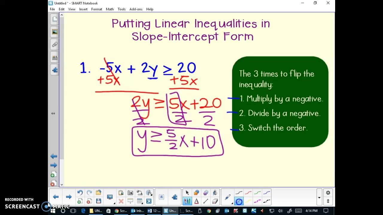 Putting linear inequalities in slope intercept form youtube putting linear inequalities in slope intercept form falaconquin