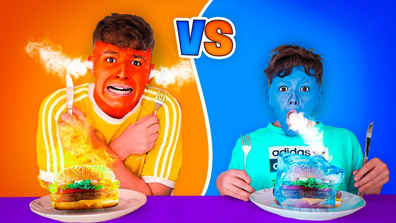 EATING ONLY HOT vs COLD FOOD FOR 24 HOURS! Last To STOP Eating Wins! w/ LITTLE BROTHER!!