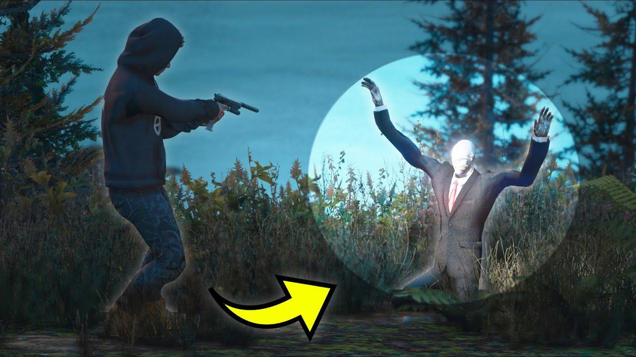 So... I tried robbing SLENDERMAN at night... (GTA 5 Mods)