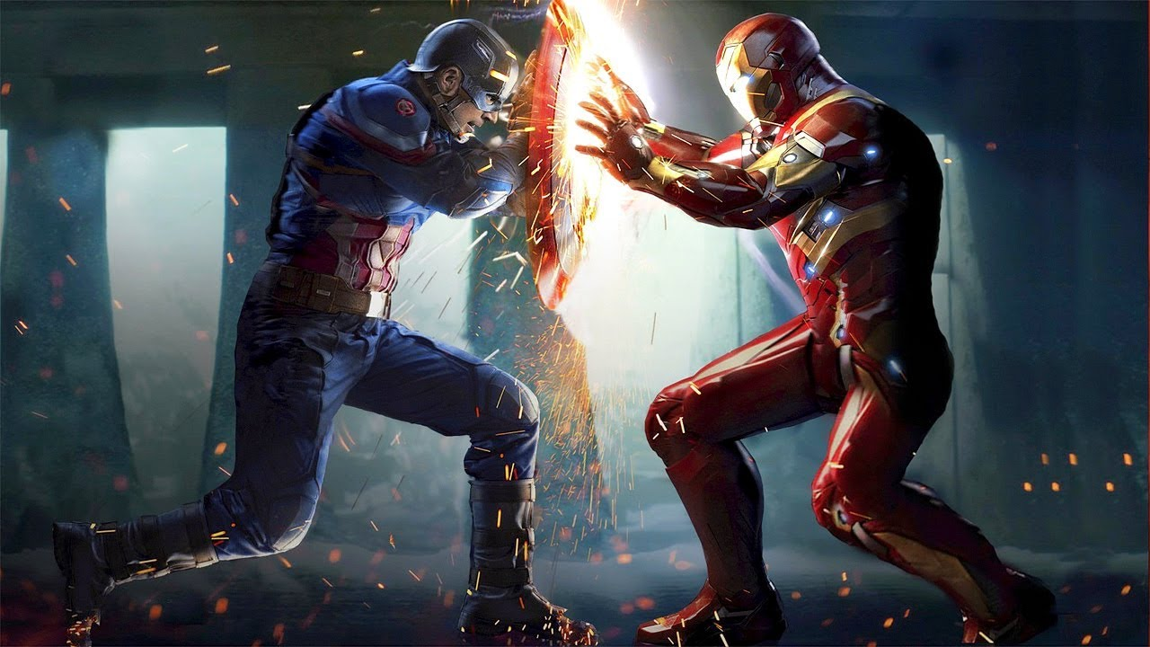 A snap from the famous fight scene between Rogers and Stark in Civil War