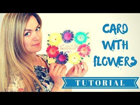 Открытка. Мастер класс Как сделать открытку для мамы своими руками! DIY простые цветы из бумаги