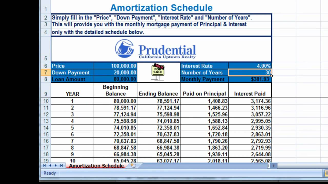 free excel amortization mortgage payment calculator youtube