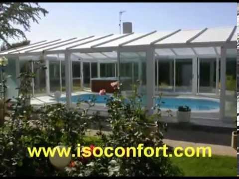 Cubiertas acristaladas de piscinas isoconfort youtube for Cubiertas acristaladas