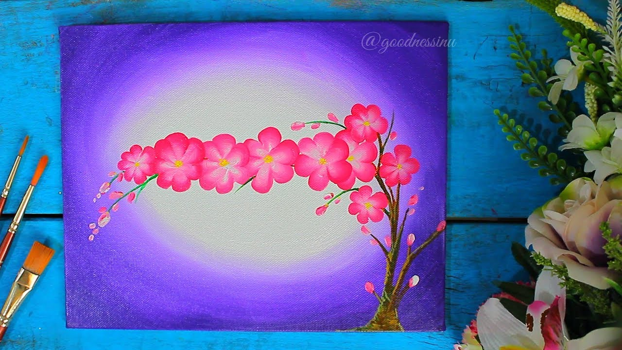 Simple and Easy Flower Painting using One Stroke Technique ... Easy Acrylic Flower Paintings On Canvas