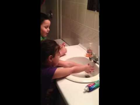 Singing Happy Birthday while washing their hands. (Instructions from Mamaw)