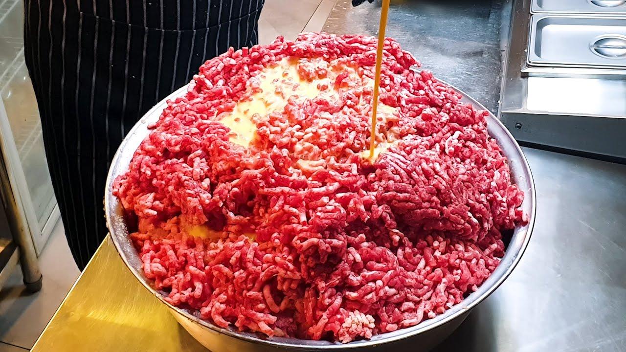 100인분 스테이크, 100% 소고기 수제 함박 스테이크, 100% Beef, Handmade Beef Hamburger Steak Master, Korean street food