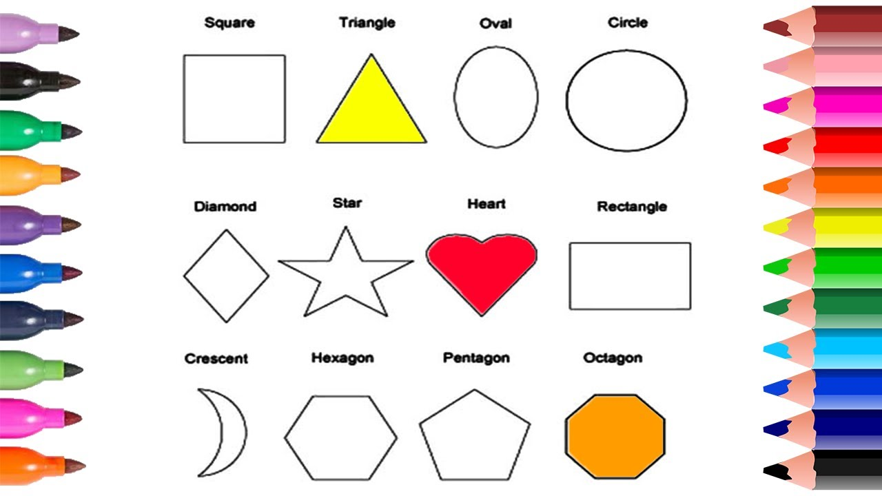 How to Draw Shapes in Math, Circle Heart, Triangle | Coloring Pages ...