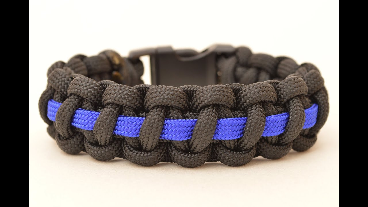 support to home police line blue bracelet paracord family thin