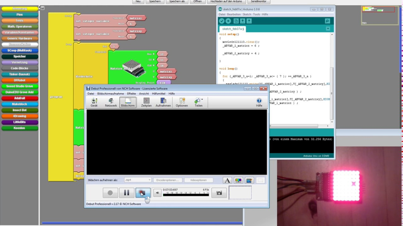 Ardublock 8x8 LED Matrix tutorial Arduino
