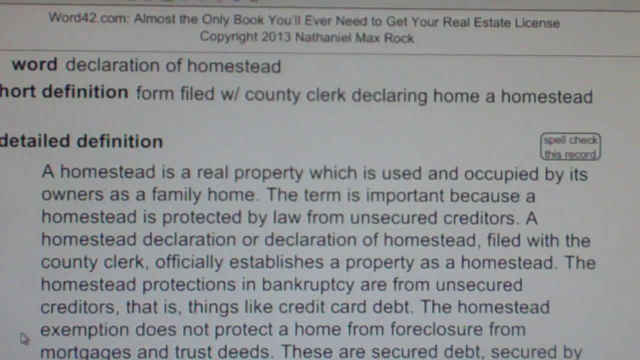 declaration of homestead CA Real Estate License Exam Top Pass ...