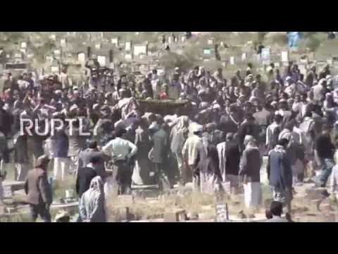 Yemen: Thousands mourn the death of Sanaa's Mayor following market hall air strike