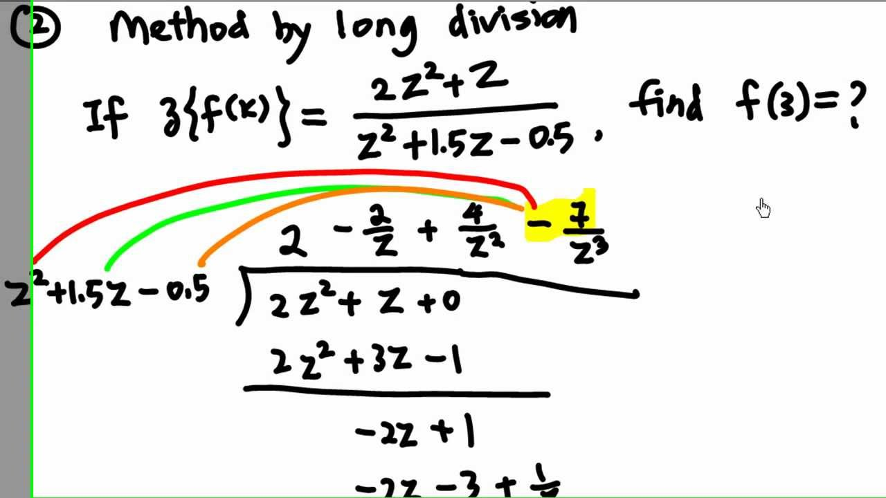 Worksheet Long Division Examples inverse z transform by long division youtube division