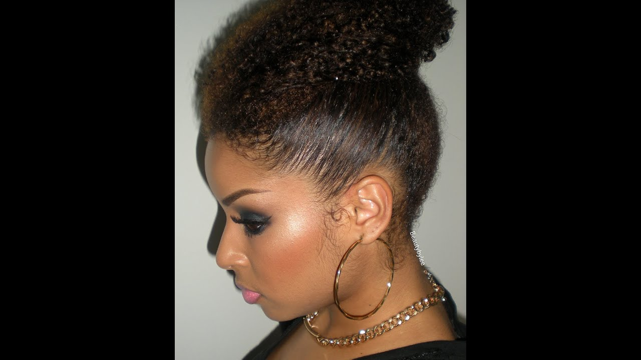 How To High Bun On Naturally Curly Coiled Hair Easy