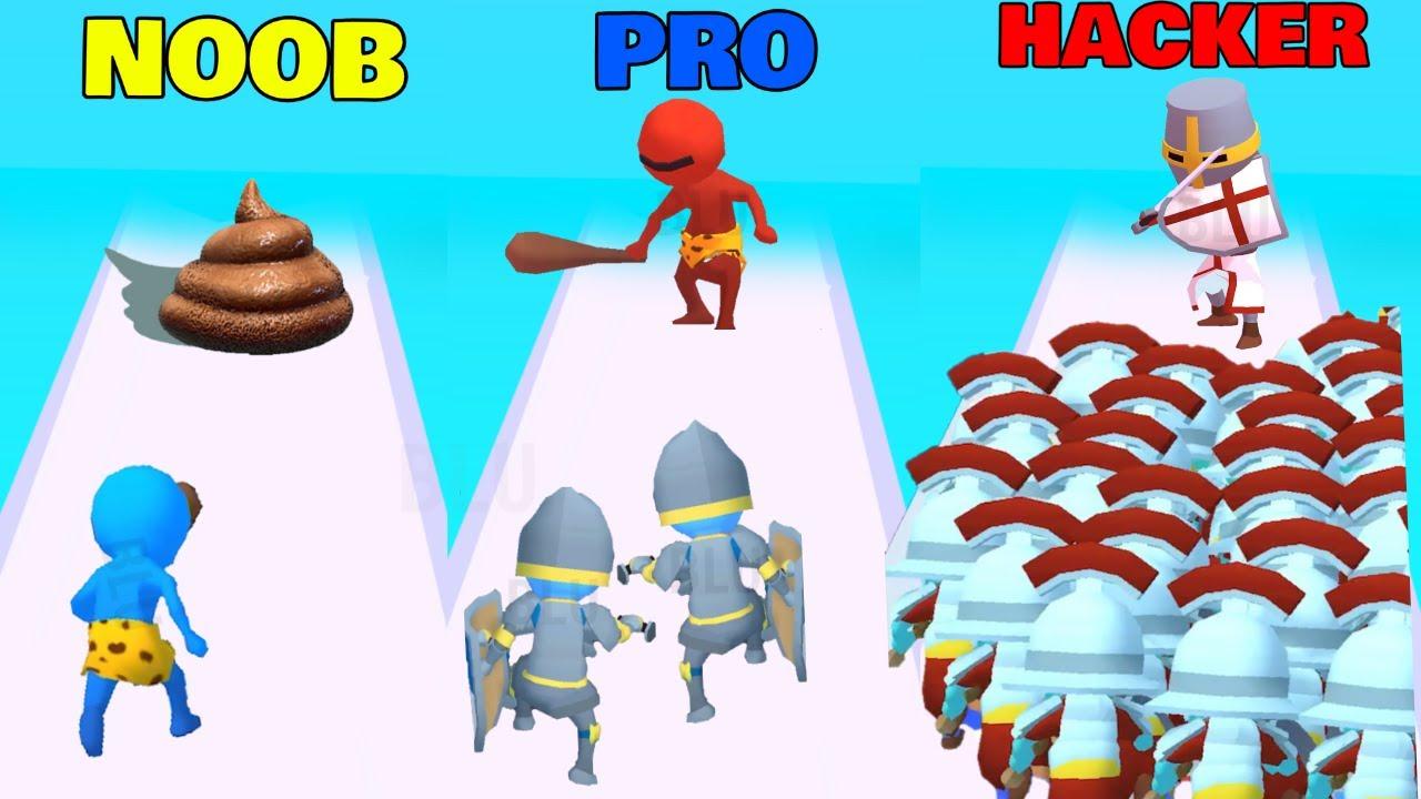 NOOB vs PRO vs HACKER in Crowd Fight 3D