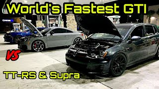 World's Fastest GTI Races Audi TT-RS & MKV Supra! + More Street Racing!