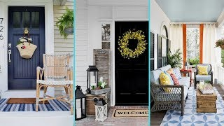 ❤DIY Shabby chic style Rustic Summer Front Porch decor Ideas❤ | Front entrance decor| Flamingo Mango