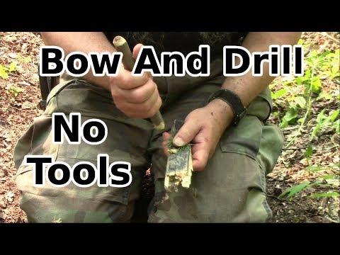 Survival Bowdrill Fire with No Tools (no knife, no saw, no axe, no hatchet, no tools)
