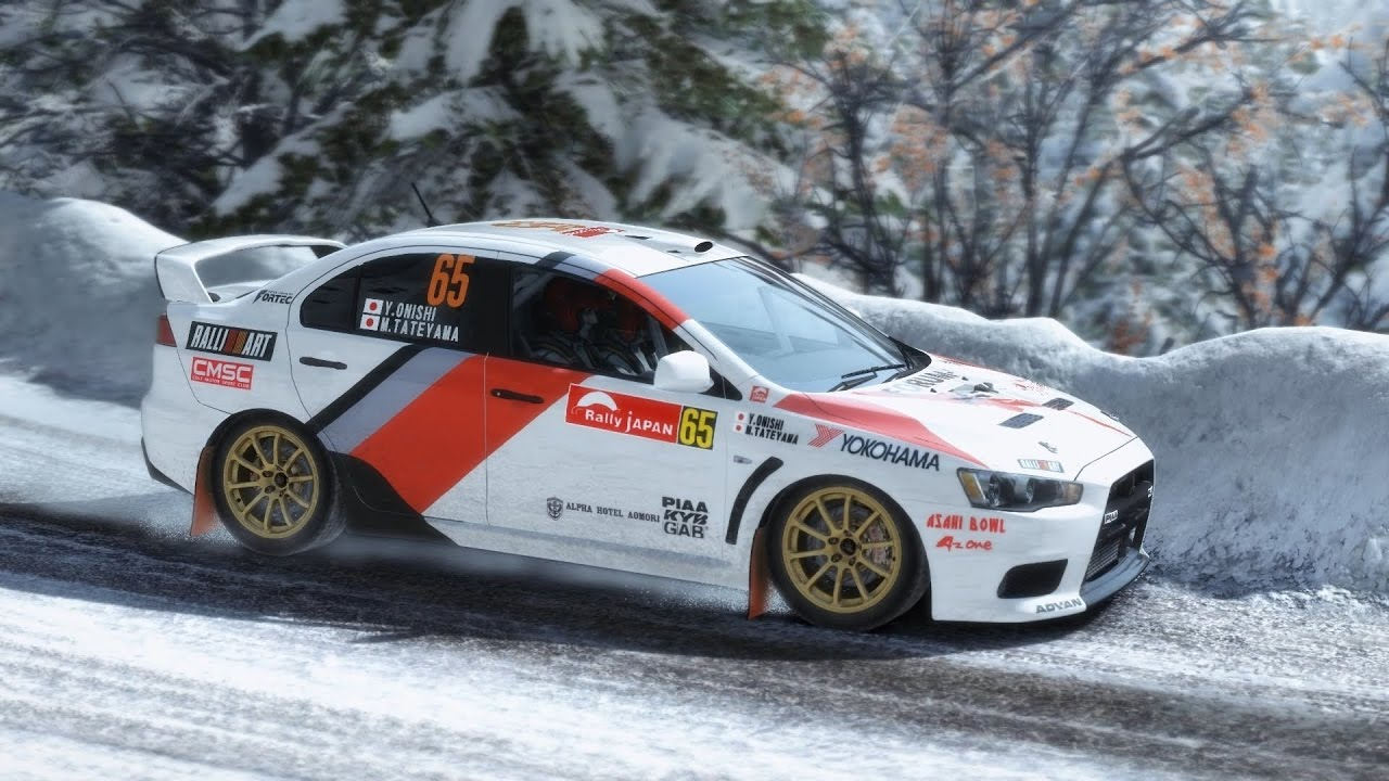 Mitsubishi EVO winter rally in Assetto Corsa