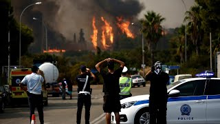 video: Athens wildfires: People flee from homes as blaze threatens the city