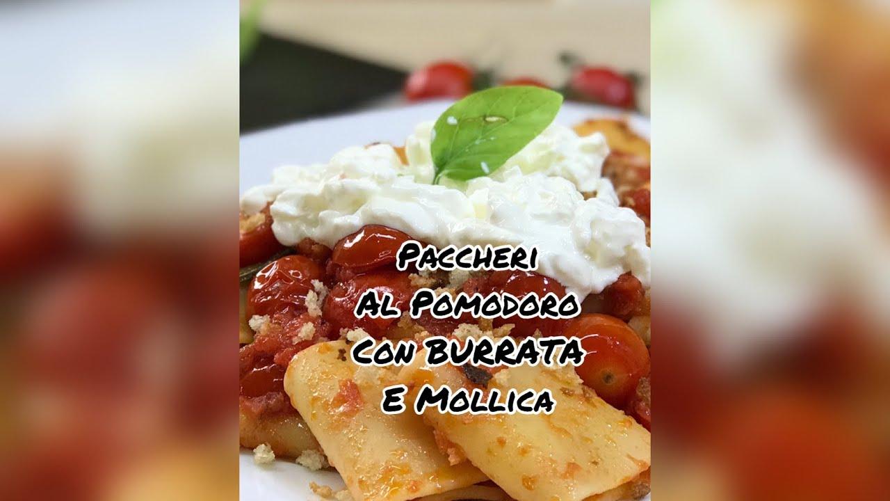 Paccheri al Pomodoro fresco 🍅 con Burrata e Mollica croccante 🌿 #shorts