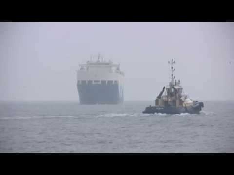 Car Carrier Aquarius Ace arrives on the River Tyne from Grimsby 16th February 2015