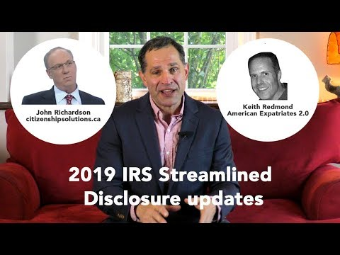 IRS Streamlined Disclosure Program 2019 updates