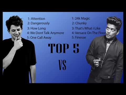 Top5 Song Charlie Puth Vs Bruno Mars