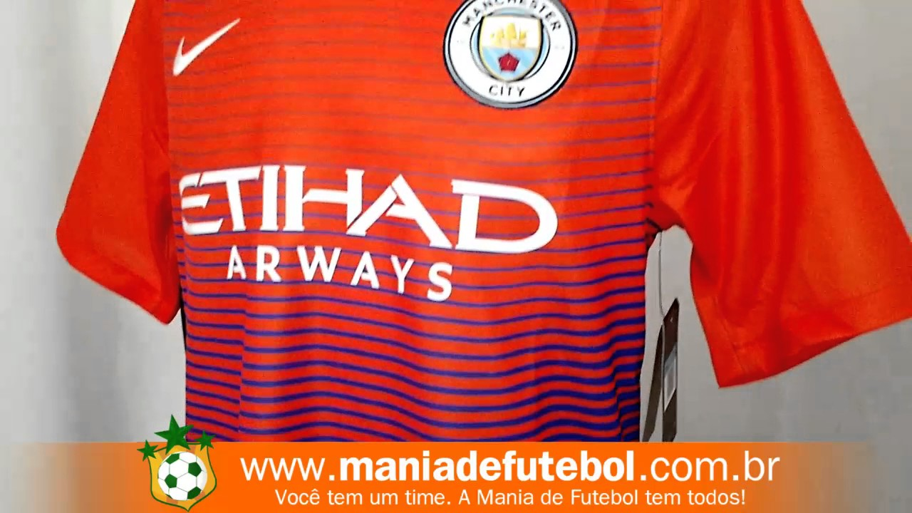 249b8625b1 Camisa Jogo 3 Manchester City Nike 16 17 Laranja - YouTube