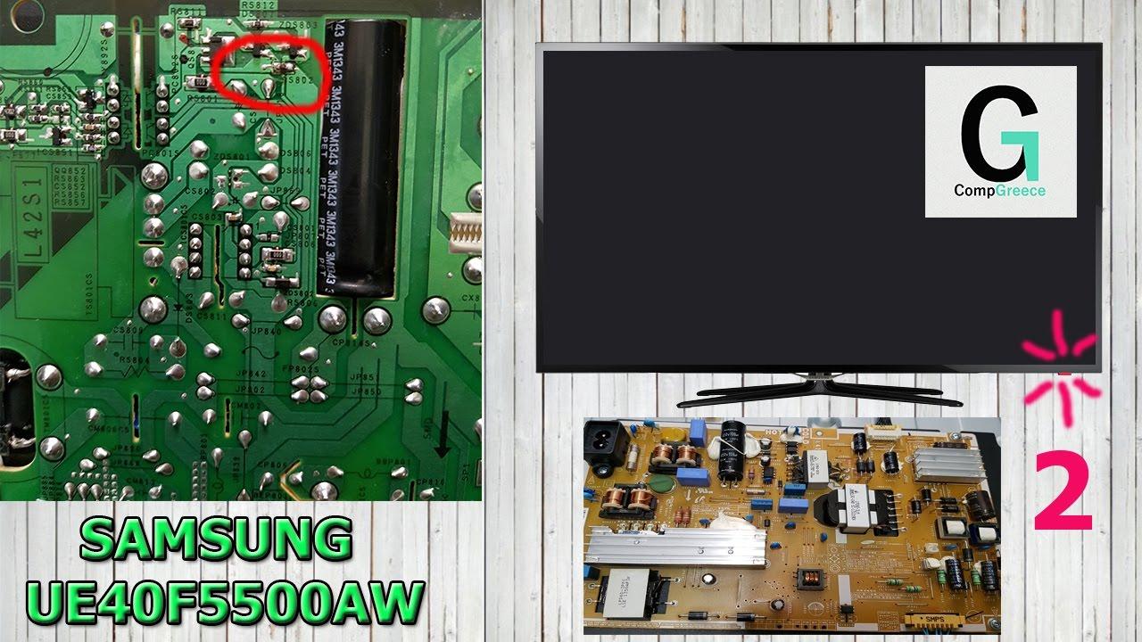 SAMSUNG UE40F5500AW диод моргает 2 раза. TV does not turn ...