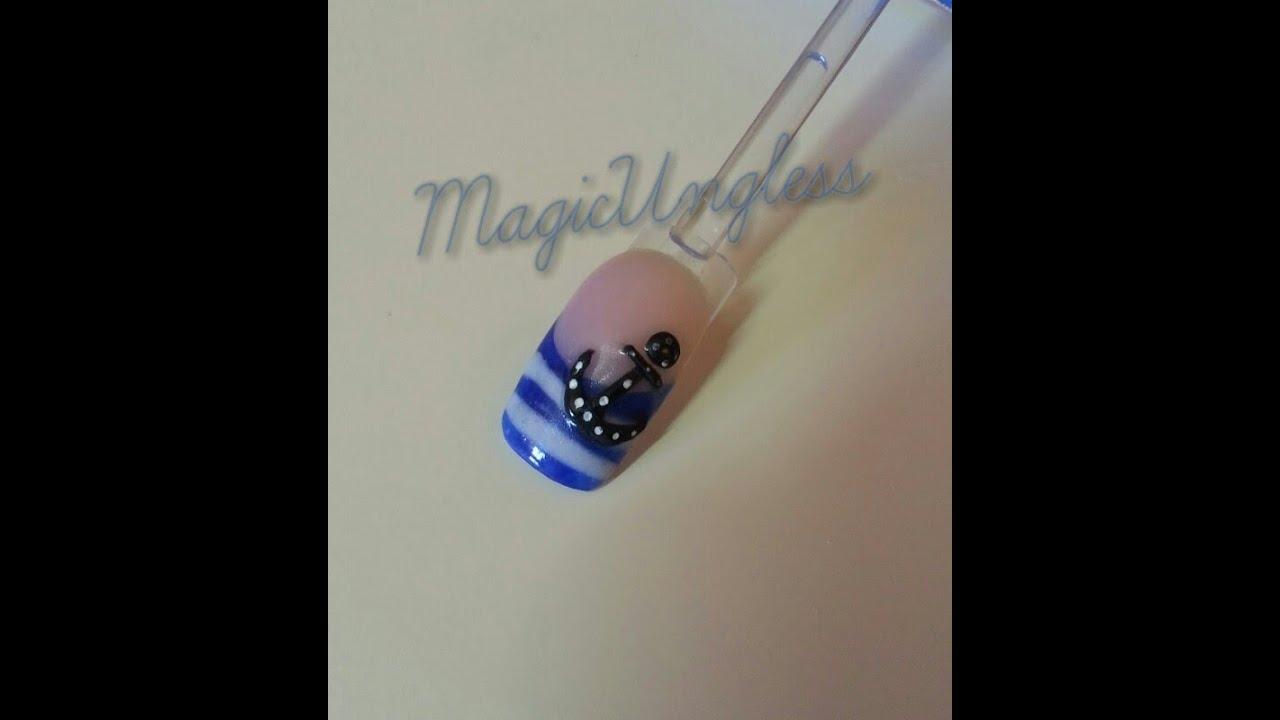 Uñas acrílicas Ancla marinera 3D / Marine anchor 3D acrylic nails