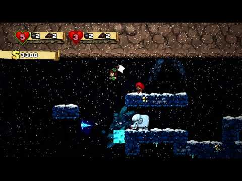 Spelunky gameplay - world 3  and world 4 - coop