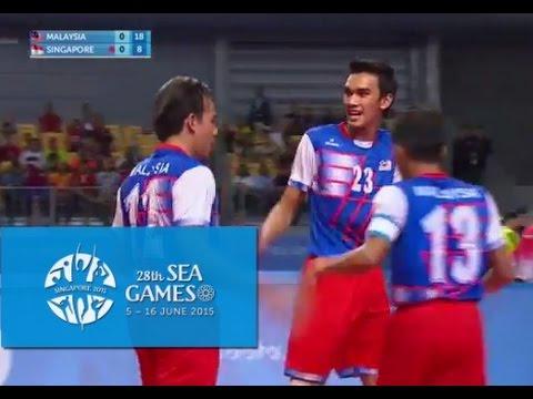 Sepak Takraw Men's Team Event MAS vs SIN 2nd Regu(Day 4)   28th SEA Games Singapore 2015