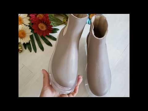 Видеообзор ботинки женские челси из натуральной кожи, цвет - бежевый