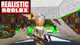 Realistic Roblox - ESCAPE THE EVIL LIBRARY OBBY IN ROBLOX