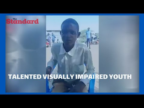 Visually impaired man from Kakuma imitates premier league commentators