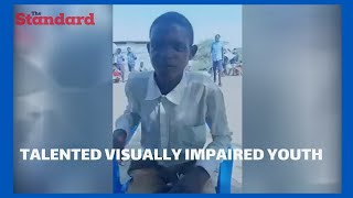Visually impaired man from Kakuma imitates premier league commentators