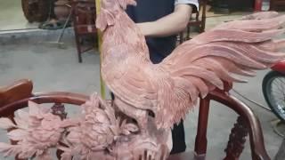 tượng gà trống gỗ hương đỏ10_8_2016