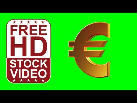 FREE HD video backgrounds –gold euro seamless loop 360 degrees rotation 3D animation