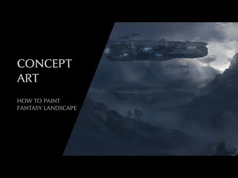 How to paint fantasy landscapes | Sci-fi city – Concept Art | photoshop cc advanced tutorial