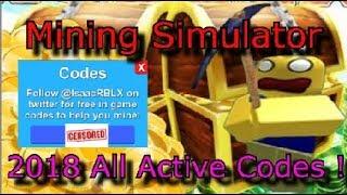 Mining Simulator All CODES 2018 ! - Roblox