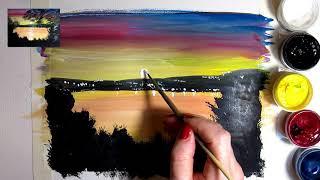 Видеоурок Как нарисовать красивый закат гуашью!
