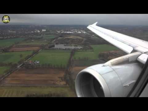Lufthansa A320 beautiful WINDY Hamburg-Langenhorn RWY 23 landing [AirClips]