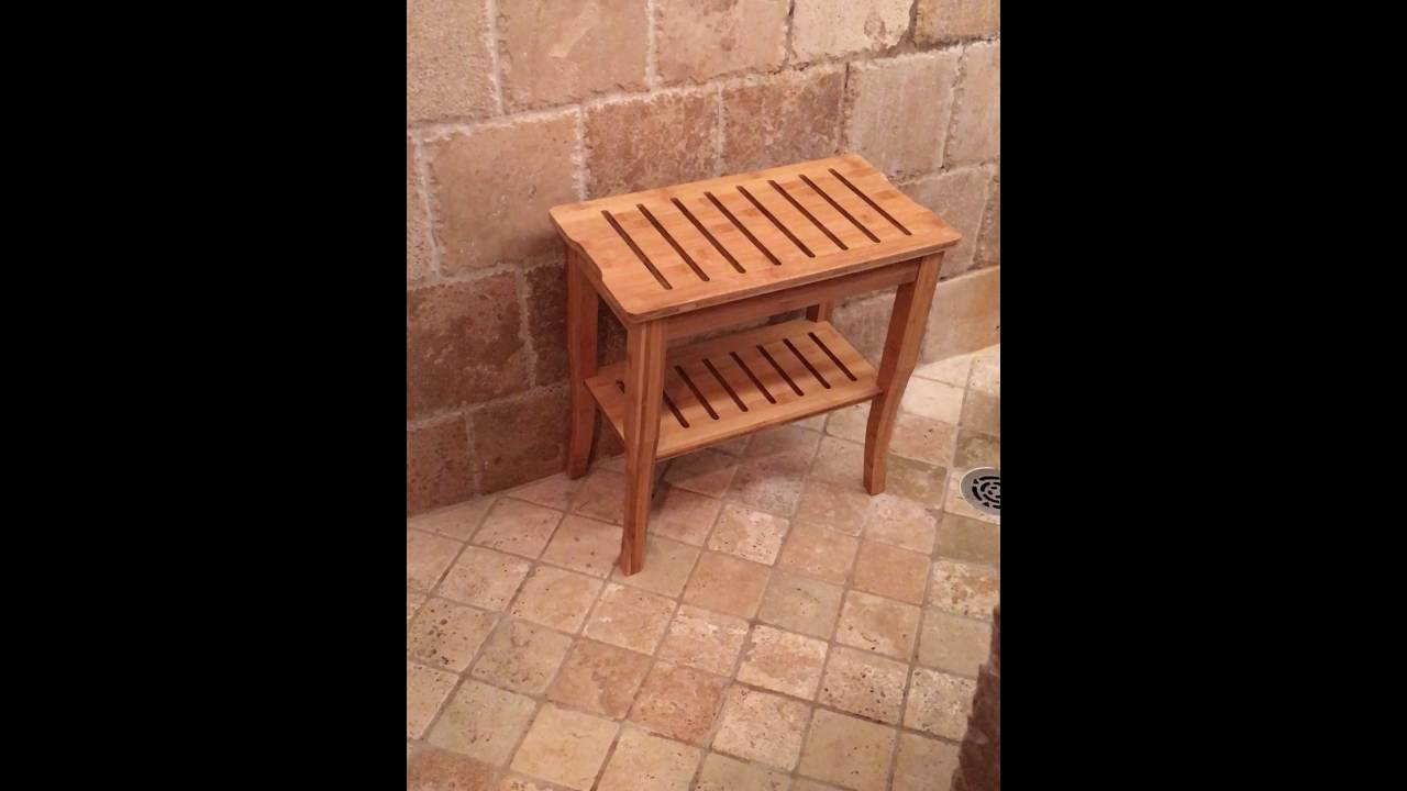Bamboo Shower Seat/Bench - YouTube