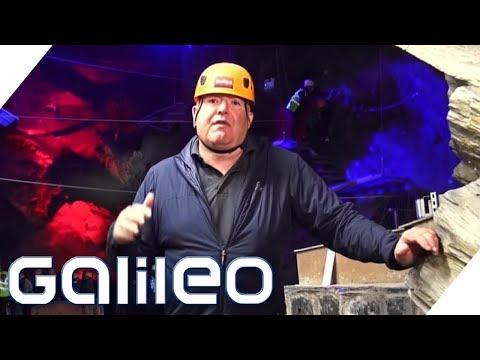 Die Action-Höhle in Wales: Trampolinspringen über dem Abgrund | Galileo | ProSieben