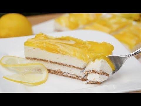 Zitronen Schnitten mit Joghurtcreme | Kuchen ohne Backen