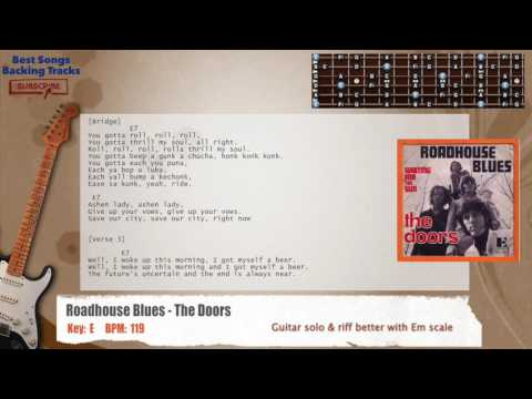 Roadhouse Blues - The Doors Guitar Backing Track with chords and lyrics