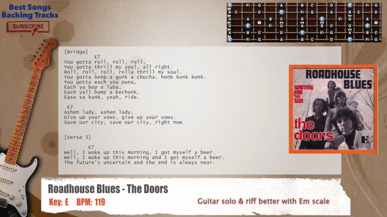 Roadhouse Blues The Doors Guitar Backing Track With Chords And